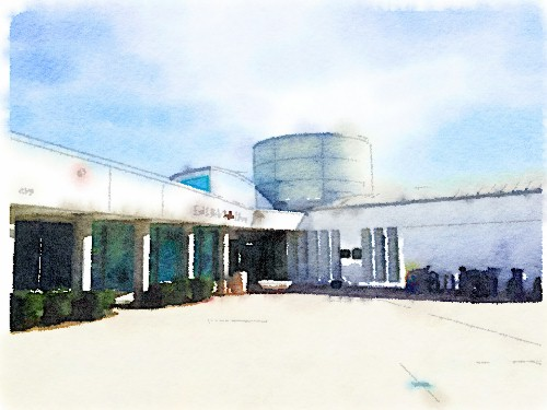 PB Library Entrance; watercolor by Richard Busch